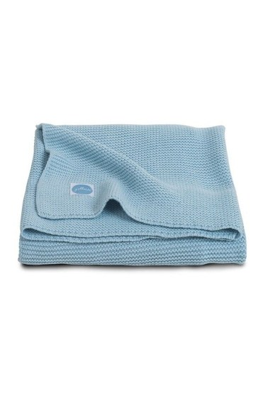 вязаный плед basic knit 100х150 см ice blue jollein