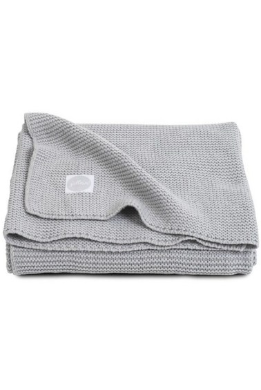 вязаный плед basic knit 75х100 см light grey jollein